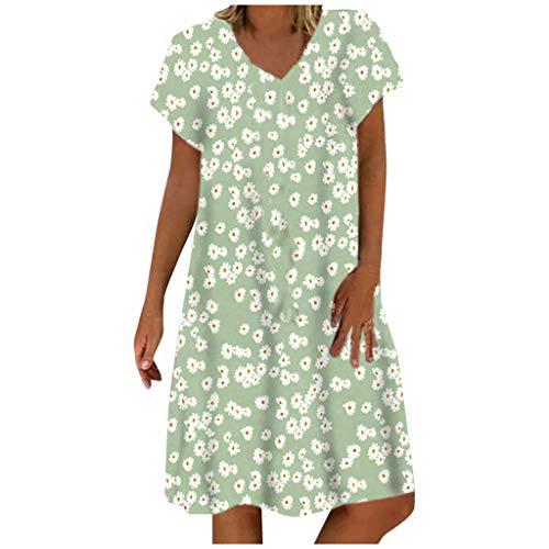Briskorry Sommerkleid Leinen Kleider Damen Elegant Casual V-Ausschnitt Strandkleider Einfarbig Blumen A-Linie Kleid Boho Knielang Kleid