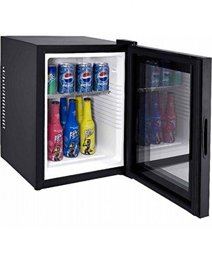 Syntrox Germany 28 Liter Null DB-lautloser Mini Kühlschrank mit Glastür geräuchloser Hotelkühlschrank