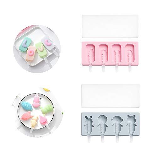 nobrand 2 Stücke Eisform, Hausgemachte Handgemachte Eisform, Silikon-EIS am Stiel mit Deckel + 20 Plastikstäbchen, Gefrorenes Dessert Schokoladeneis EIS am Stiel Schimmel Tablett (Blau + Pink)
