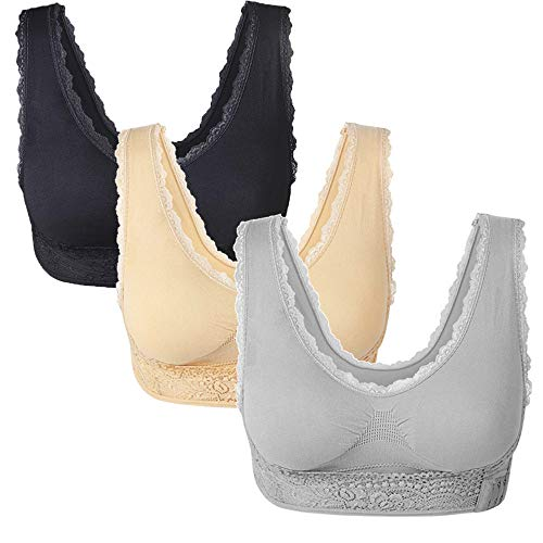 3 Pack Lace Sport Bras Adjustable Side Bra Front Cross Bras for Women Girls with Removable Pads (Nude/Grey/Black, L 30C 30D 32C)