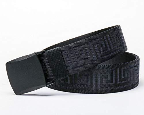 CSXM Cintura da Uomo Cintura in Tela per Donna Studenti Cinture Jacquard Automatiche Maglieria Ricreativa Nylon off White Cintura Uomo Punk Nera