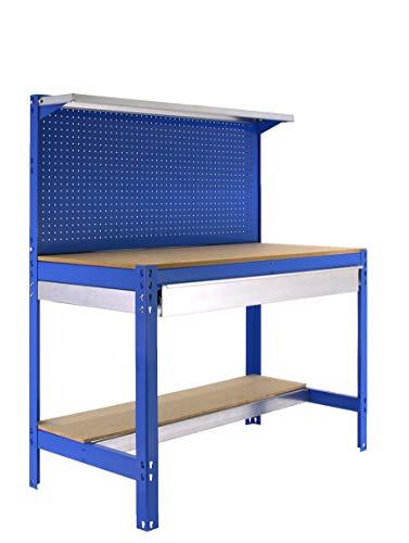 Banco de trabajo BT3 con cajón Simonwork Azul/Madera Simonrack 1445x1210x610 mms - Mesa de trabajo - Banco para taller 600 Kgs de capacidad por estante