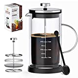 French Press Coffee Maker & Tea Maker- Double Wall Insulated Borosilicate One-Piece Glass...