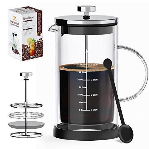 French Press Coffee Maker & Tea Maker- Double Wall Insulated Borosilicate One-Piece Glass Carafe,Heat Resistant w/Filtration System,BPA-Free, Durable & Easy to Clean, Large Capacity (34 Oz)+3 Bonuses