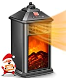 Portable Heater, Small Electric LED Fireplace Heater with Remote, Space Heater with Adjustable High Power Thermostat Ceramic, Safe Tip-Over & Overheat Protection, Portable Heaters for Indoor Use