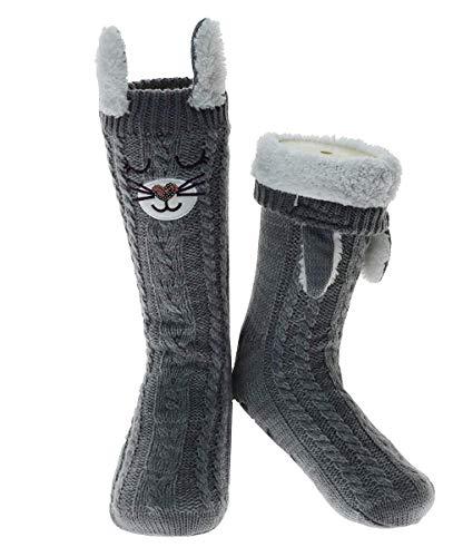SOLYXQ Slipper Socks 3D Neuheit Niedliches Tier gestrickte extra warme Hausschuhe für Frauen und Damen Superweiche Winter Wolle-Slipper Socke