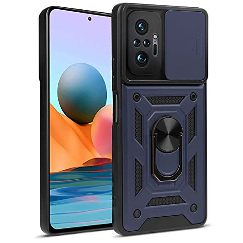 OUJD Funda para Xiaomi Redmi Note 10 Pro/Redmi Note 10 Pro MAX, [Protección de Cámara] Carcasa 360° Giratorio Magnético Soporte de Anillos de Armadura Estuche Militar Híbrida Anti-Choqu - Azu