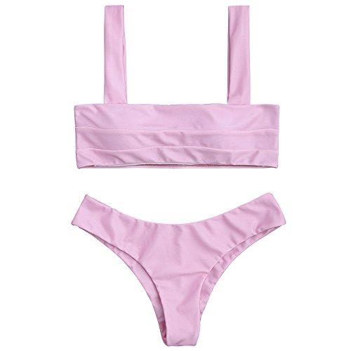 ZAFUL Women's Wide Straps Padded Bandeau Bikini Set (M, Pink)