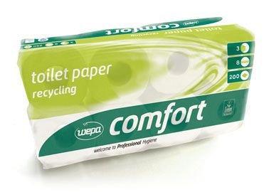 Topa Wepa Comfort Toilettenpapier recycling 3-lagig, 200 Abrisse, 8 Rollen