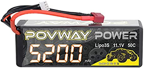Lipo Battery POVWAY 5200mAh 11.1V 50C 3S RC Battery with Deans T Plug for RC Cars, RC Truck,Helicopter, Airplane