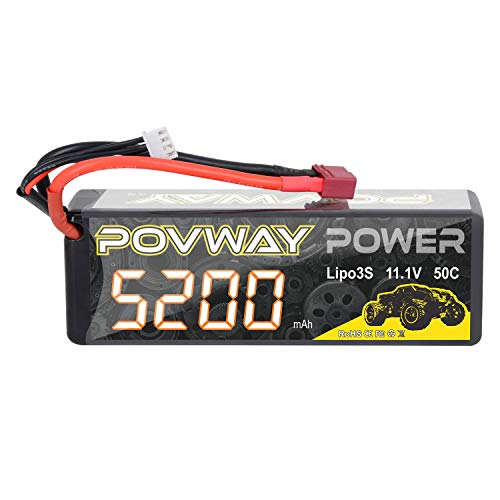 Lipo Battery, POVWAY 5200mAh 3S RC Battery 11.1V 50C with Deans T Plug for RC Cars, RC Truck,Helicopter, Airplane