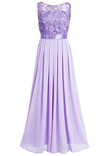 iEFiEL Damen Kleid Festliche Kleider Brautjungfer Hochzeit Cocktailkleid Chiffon Faltenrock Elegant Langes Abendkleid Partykleid Lavender 42