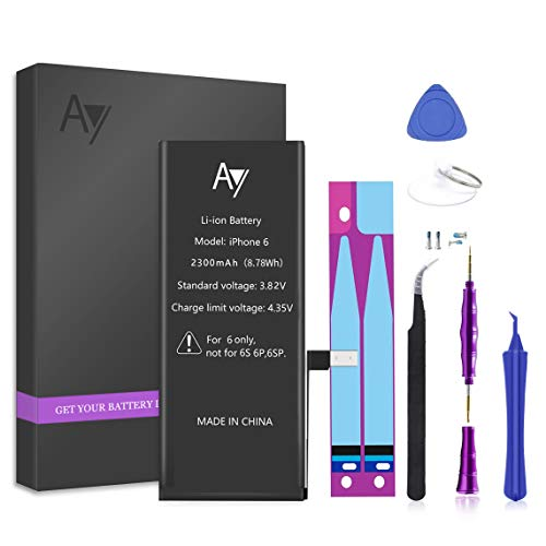 AY Battery for iPhone 6 2300mAh Capacity Replacement Battery with Complete Repair Tools Kit, Adhesive, and Instructions 0 Cycle - 18 Months Warranty…