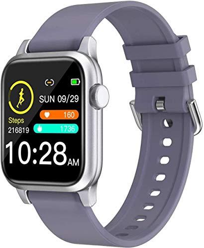 JIAJBG Reloj Inteligente, Ejercicio de Salud Hombres Mujeres Smartwatch Podómetro Ritmo Cardíaco Monitor de Sueño Ip68 Impermeable Compatible para Android Ios-Black Desgaste diario