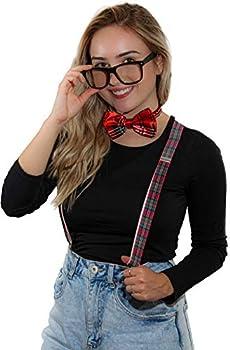 Suspender Bowtie Nerd Clear Glasses Nerd Costume Halloween  Red Plaid