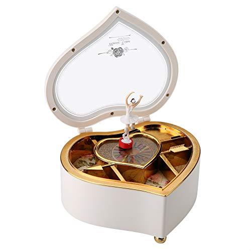 AUNMAS Caja de música en Forma de corazón con Spinning Dance Bailarina Caja de Almacenamiento de joyería para el cumpleaños de Navidad Regalo del día de San Valentín