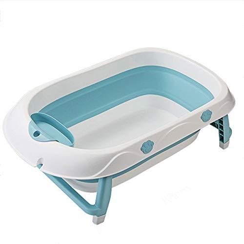 TWW Bañera Plegable para Niños, Bañera Grande Y Gruesa para Bebés, Que Puede Sentarse Y Acostarse, Barril De Baño para Bebés Recién Nacidos,Azul