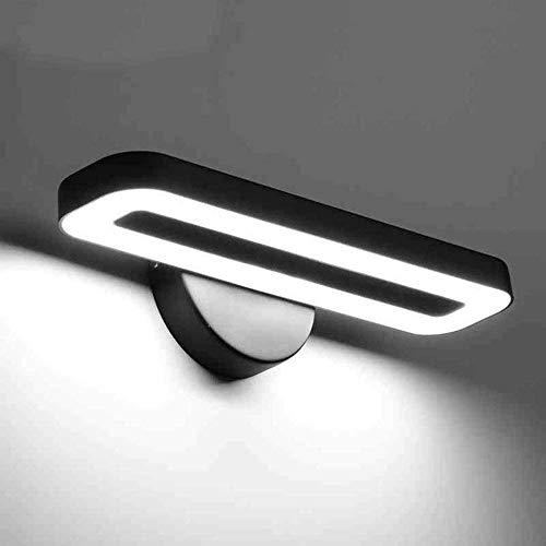 Inicio Espejo de baño Faros delanteros Espejo LED para baño Luces delanteras Luz blanca (6000-6500K) Aplique de pared 28Cm 8W Bombilla LED incluida, Faros de espejo, Negro