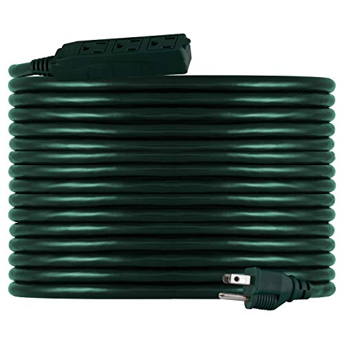 Philips Accessories Philips 50 Ft Outdoor Extension, 3 Outlet Cord, Use in Garage, Shed, Office or Home, Green, SPS1037GG/27, Power Strip