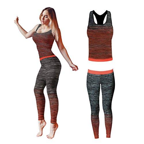 Bonjour - Abbigliamento sportivo da donna/canotta e leggings (set da 2 pezzi, top e leggings), set da palestra o per yoga, elasticizzato, Turquoise Stripe Vest Top, One Size ( UK 8 - 14 )