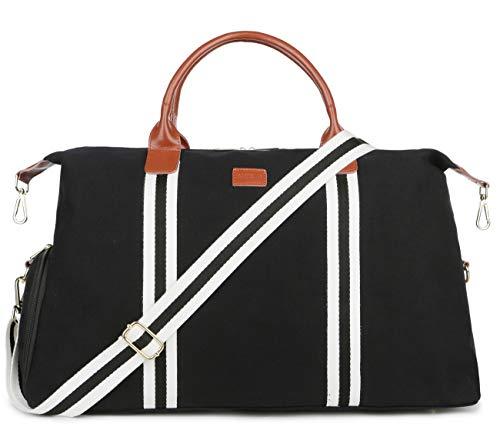 BAOSHA Large Canvas Travel Tote Duffel Bag Carry on Weekender Overnight Bag Unisex HB-36 (Black)