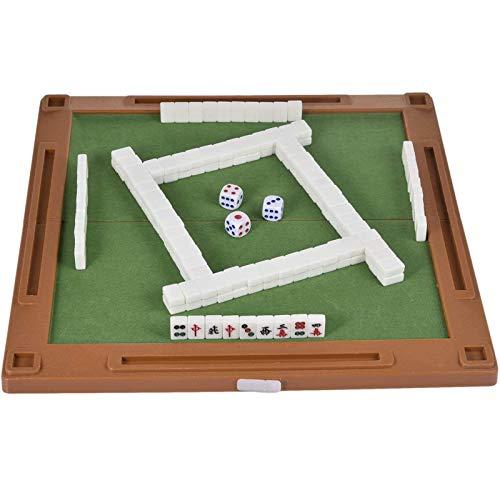 SUNBJ 6 en 1 Juego de Juegos de Mesa de Viaje de Mahjong, Mini Mini Chino Chino Mahjong Juegos con Mesa Plegable Incluye Dados de Poker Mahjong