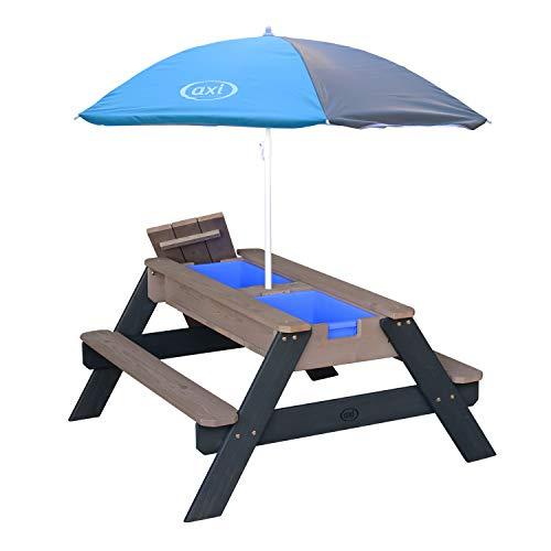 AXI Nick Kinder Sand & Wasser Picknicktisch aus Holz | Wasserspieltisch & Sandtisch mit Deckel und Behältern | Kindertisch / Matschtisch in Grau mit Sonnenschirm für den Garten