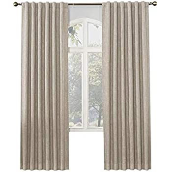 Amazon Com Allen Roth Glennston 84 In Linen Polyester Back Tab Room Darkening Thermal Lined Single Curtain Panel Home Kitchen