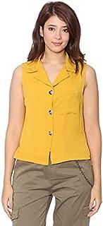 Andiamo Fashion Chest-Pocket Button-Down Sleeveless Shirt for Women M
