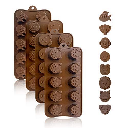 Backformen aus Silikon zum Backen, Bonbons und Schokolade: Kleine flexible Form für harte oder gummiartige Süßigkeiten - Werkzeuge zur Bonbon- und Schokoladenherstellung - Tiermotivdesign, 4er Pack