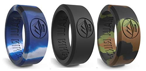MAUI RINGS Best Silicone Wedding Ring Solid Style Engagement Rings Silicone Band for Men Wedding Rubber Bands Mens Ring Men Wedding Band Safe Ring Sport Gym (Camo/Black/Arctic Camo, 12)