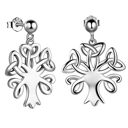 Triquetra Celtic Knot Tree of Life Earrings Stud 925 Sterling Silver Trinity Knot Family Tree Dangle Earrings for Women Girl Irish Amulet Jewelry Christmas FE0088W