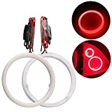 QasimLED 1 Pair 90MM 60SMD COB LED Angel Eyes Headlight Halo Ring Warning Lamps with Cotton Plastic Cover Red 9-30V DC