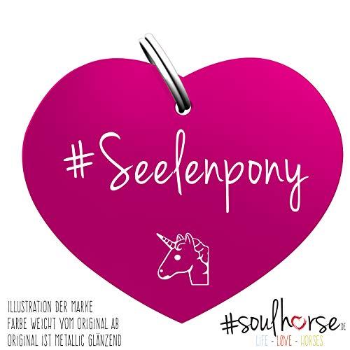 Soulhorse Pferde Glücksmarke Herzmarke Seelenpony in pink fürs Pony Halfter, Trense und Zaumzeug