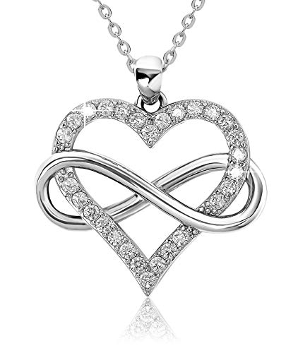 Jes & Jani Infinity Heart Necklace for Women, Love Heart Pendant with...