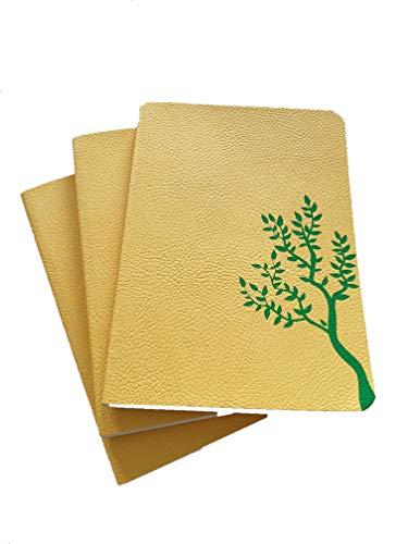 E-Taccuino -3 Quaderni Appunti 11x16 cm da 128 pagine bianche - carta riciclata - copertina morbida effetto pelle gialla con stampa a caldo albero verde