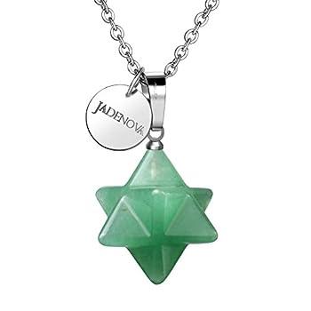JADENOVA Natural Aventurine Necklace Merkaba Crystal Pendent Necklace for Women Men Jewelry Energy Healing Gemstone Pendulum Pendant  18 Inches Stainless Steel Chain
