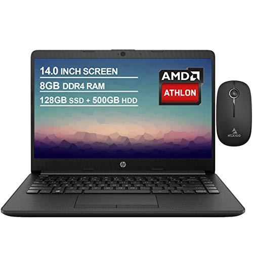 2020 Newest HP 14 Inch Premium Laptop, AMD Athlon Silver 3050U up to 3.2 GHz, 8GB RAM, 128GB SSD (Boot) + 500GB HDD, Bluetooth, Webcam, Win10 S, Black + NexiGo Wireless Mouse Bundle