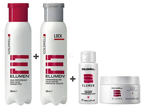 Goldwell Elumen Haarfarbe [RR@all Rot] 200ml + 250ml Lock Versiegelung + 30ml Color Shampoo + 25ml Color Maske