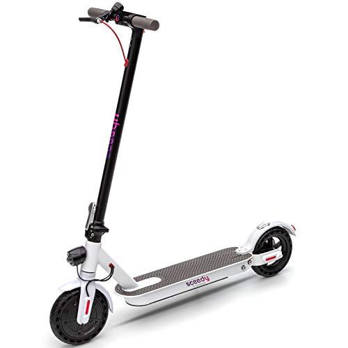 SCEEDY E-Scooter, Faltbarer 8,5 Zoll E Roller,250 W-Motor Elektro Scooter Erwachsene,dauerhaft Batterie 8 AH von Elektroroller zu Erwachsene und Studenten ,25 km Reichweite 20km/h ,Weiss