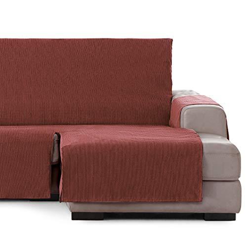 Vipalia Cubre Sofa chaiselongue Ajustable. Funda de Sofa Chaise Longue Brazo Derecho Corto. Protector Antimanchas. Color Teja. Chaise Corto Derecha