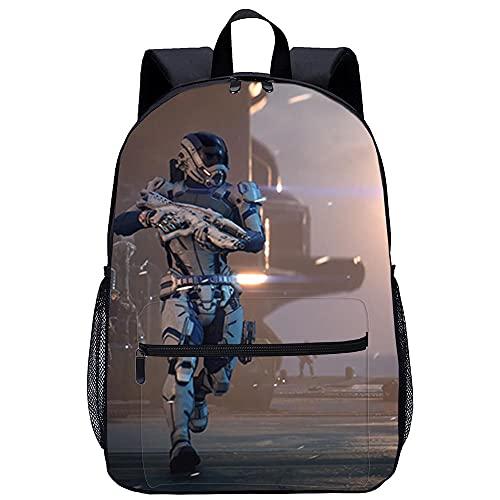 Yinxing 3D-gedruckte Schultasche für Jungen Schulrucksack Mass Effect Andromeda-geeignet für Jungen, Grund- und Mittelschüler-Größe: 45x30x15 cm/17 Zoll-Freizeitrucksack