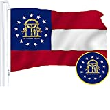 G128 – Georgia State Flag | 3x5 feet | Embroidered 210D – Indoor/Outdoor, Vibrant Colors, Brass Grommets, Quality Polyester