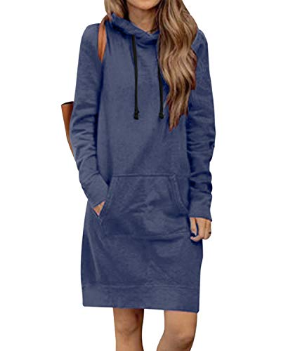 Kidsform Hoodie Damen Sweatshirt Kapuzenpullover Pulli Kleid Pullover Herbst Sweatjacke mit Tasche 3-Blau XXL