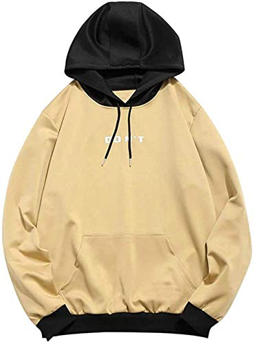 RBELEF Mens Casual Patchwork Hooded Top Blouse Sweatshirt with Pockets Coat Jacket