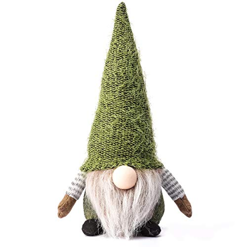 Funoasis Christmas Gnome Gifts Holiday Decoration Birthday Present Handmade Tomte Plush Doll, Home Ornaments Tabletop Santa Figurines 14 Inches (Green)