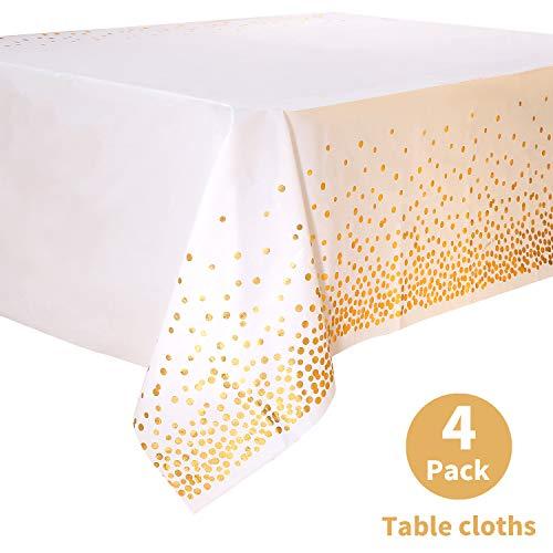 Duocute Einweg-Tischdecke in Weiß und Gold für Rechteck-Tisch, rechteckige Tischdecke aus Gold Dot Confetti-Kunststoff, für Brautdusche, Verlobung, Hochzeit, Einweihungsparty, 137 cm x 274 cm, 4PCS