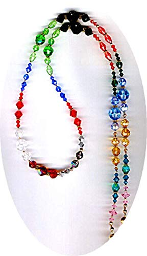Elegant All Large and Vintage Faceted Crystals Beaded ID Badge Lanyard or Eyeglass Chain