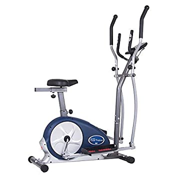 Body Champ 2-in-1 Upright Exercise Bike and Elliptical Trainer with Seat Heart-Rate Monitor and Programmable LCD Console BRM3671