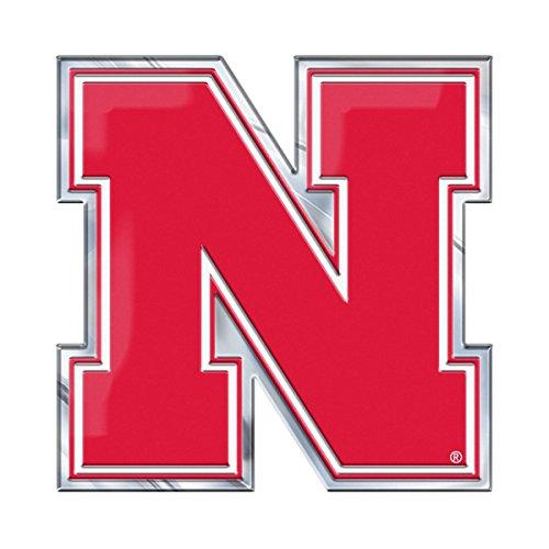 Fanmats University of Nebraska Heavy Duty Aluminum Color Emblem, Team Color, 4 x 3